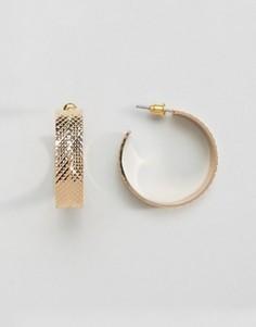 Серьги-кольца с отделкой в виде шин ASOS - Золотой