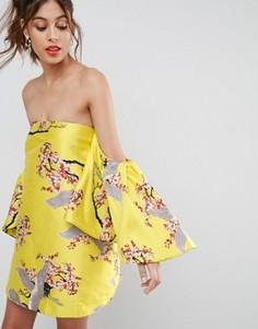Жаккардовое платье мини с рукавами-оборками ASOS - Мульти