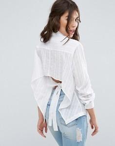 Рубашка с вышивкой в полоску и бантом на спине ASOS - Белый