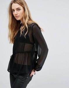 Прозрачная блузка Brave Soul - Черный