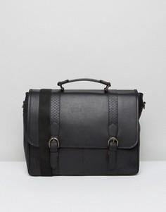 Черная кожаная сумка сэтчел с перфорацией ASOS - Черный