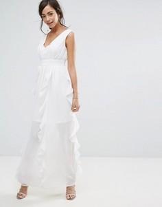 Шифоновое платье макси с оборками Boohoo - Белый
