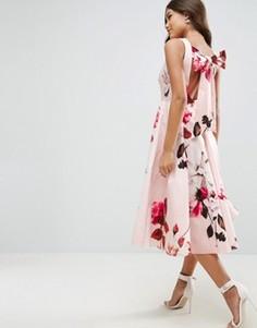 Платье миди для выпускного с цветочным принтом и бантом на спине ASOS - Мульти