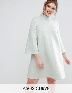 Цельнокройное платье мини ASOS CURVE - Зеленый