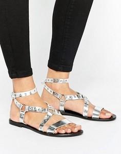 Кожаные сандалии с ремешками и заклепками Park Lane - Серебряный