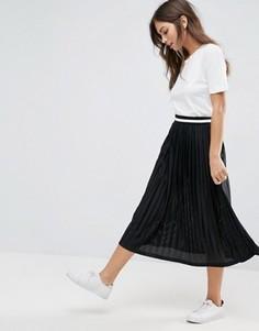 Плиссированная юбка миди с контрастным поясом ASOS - Черный