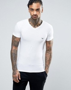 Обтягивающая футболка с V‑образным вырезом и логотипом Emporio Armani - Белый