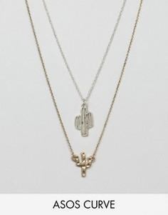 2 ожерелья с кактусами ASOS CURVE - Мульти