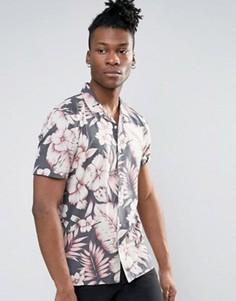 Рубашка классического кроя из вискозы с гавайским цветочным принтом ASOS - Серый