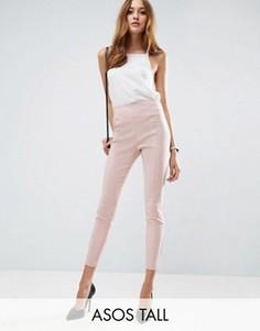 Укороченные брюки скинни с завышенной талией ASOS TALL - Розовый