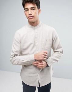 Рубашка с воротом на пуговице из хлопка и льна Threadbare - Stone
