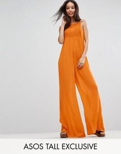 Комбинезон из жатой ткани с кружевной вставкой ASOS TALL - Оранжевый