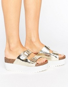 Золотистые сандалии-слайдеры на плоской подошве RAID Kooper - Золотой