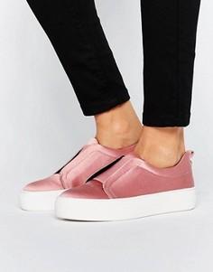 Светло-розовые атласные кроссовки-слипоны Steve Madden Goals - Розовый