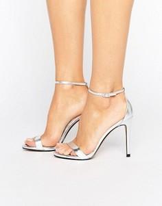 Серебристые сандалии на каблуке Steve Madden Stecy - Серебряный