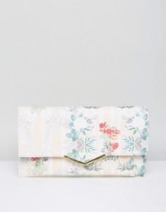 Клатч с цветочным принтом и V-образной планкой ASOS - Мульти
