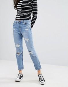 Прямые рваные джинсы New Look - Синий