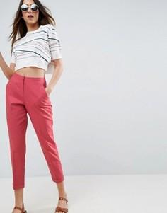 Льняные брюки-сигареты ASOS - Розовый