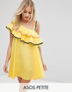 Хлопковое платье на одно плечо с оборками ASOS PETITE - Желтый