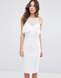 Облегающее платье с рюшами BCBG Illusion - Белый