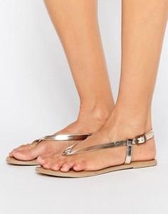 Кожаные сандалии с перемычкой London Rebel - Золотой