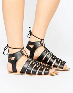 Кожаные сандалии с заклепками London Rebel Ghillie - Черный