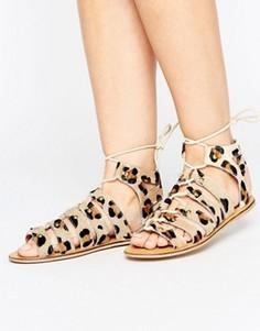 Кожаные сандалии с заклепками London Rebel Ghillie - Мульти