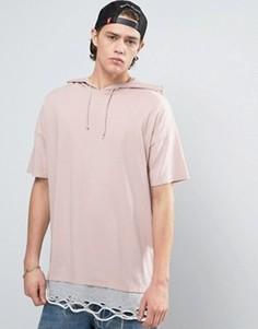 Oversize-футболка с капюшоном и рваной отделкой ASOS - Розовый