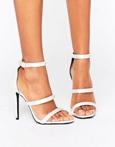 Атласные босоножки на каблуке с ремешками Missguided - Белый