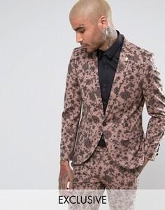 Супероблегающий пиджак с цветочным принтом Noose & Monkey - Розовый