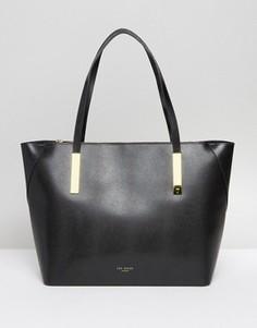Большая сумка для покупок из зернистой кожи Ted Baker - Черный