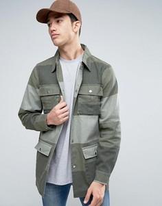 Куртка милитари в стиле пэтчворк Liquor & Poker - Зеленый
