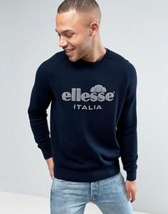 Трикотажный свитшот с большим логотипом Ellesse Italia - Темно-синий