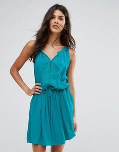 Свободное платье с вышивкой See U Soon - Синий