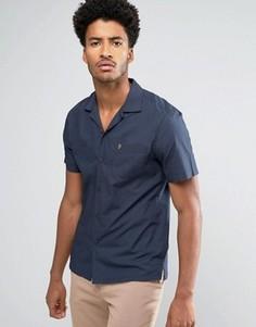 Узкая темно-синяя рубашка с короткими рукавами и отложным воротником Farah Torbay - Темно-синий