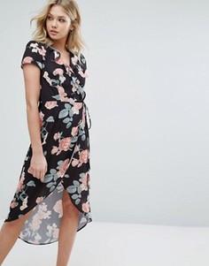 Асимметричное платье с запахом и оборкой Oh My Love - Мульти