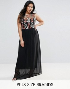 Платье макси с вышивкой на лифе Club L Plus - Черный