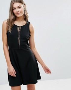 Короткое приталенное платье с сетчатой вставкой Dex - Черный