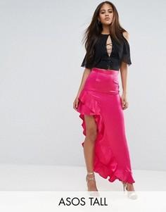 Атласная юбка с асимметричными оборками ASOS TALL - Розовый