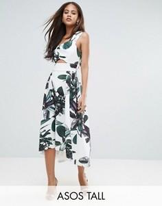Платье для выпускного на одно плечо с пальмовым принтом и удлиненным подолом сзади ASOS TALL - Зеленый