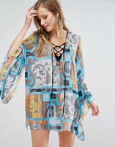 Пляжное платье с расклешенными рукавами Forever Unique - Мульти