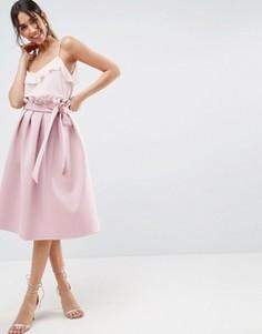 Юбка для выпускного со свободной талией ASOS Scuba - Розовый