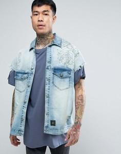 Синяя джинсовая куртка с принтом на спине Sixth June - Синий