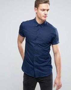 Узкая рубашка с короткими рукавами Burton Menswear - Темно-синий
