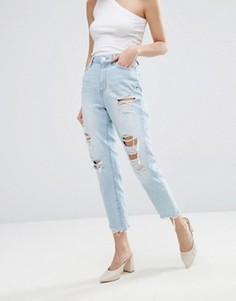 Рваные джинсы в винтажном стиле New Look - Синий