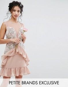 Платье мини с баской и сетчатыми вставками Maya Petite - Розовый