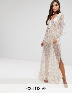 Платье макси с глубоким вырезом и пайетками Club L - Золотой