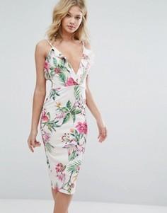 Платье миди с оборками и цветочным принтом Oh My Love - Белый