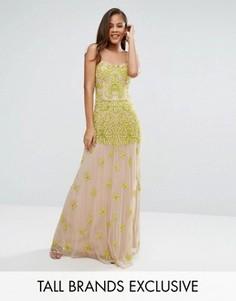 Платье макси с топом-корсетом и отделкой Maya Tall - Желтый