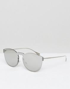 Серебристые круглые солнцезащитные очки Emporio Armani - Серебряный